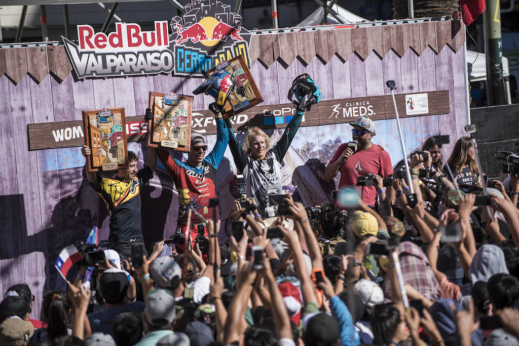 Pedro Ferreira Thomas Slavik and Bernard Kerr celebrates during Red Bull Valparaiso Cerro Abajo in Valparaiso Chile on February 19 2017 Nicolas Gantz Red Bull Content Pool P-20170220-00243 Usage for editorial use only Please go to www.redbullcontentpool.com for further information.