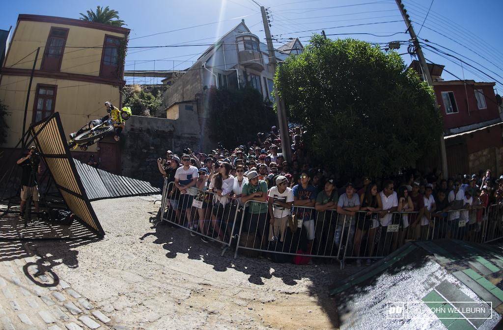 Chilean Pedro Ferreira hitting the wall ride gap high , heading towards his third place podium spot.