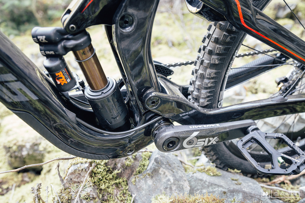 The shock sits very low in the bike but is not something that is new to DH bikes. Cable routing is clean.