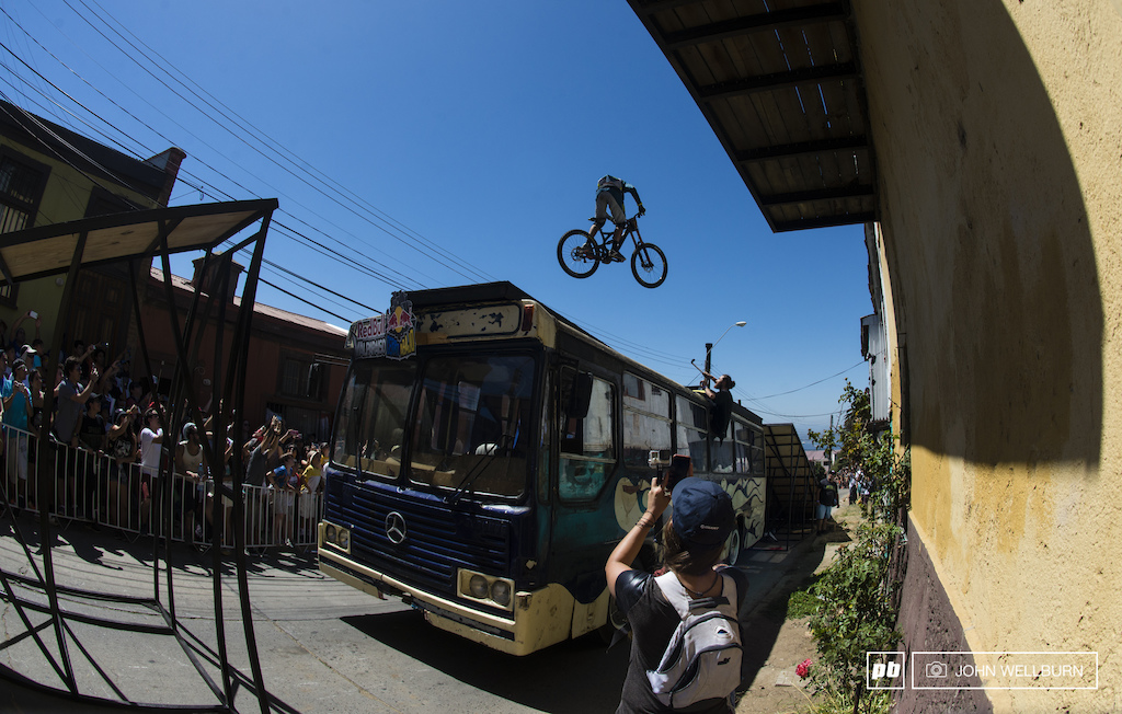 Argentina's Mauricio Flores jumps over the massive bus gap with style in warm ups.