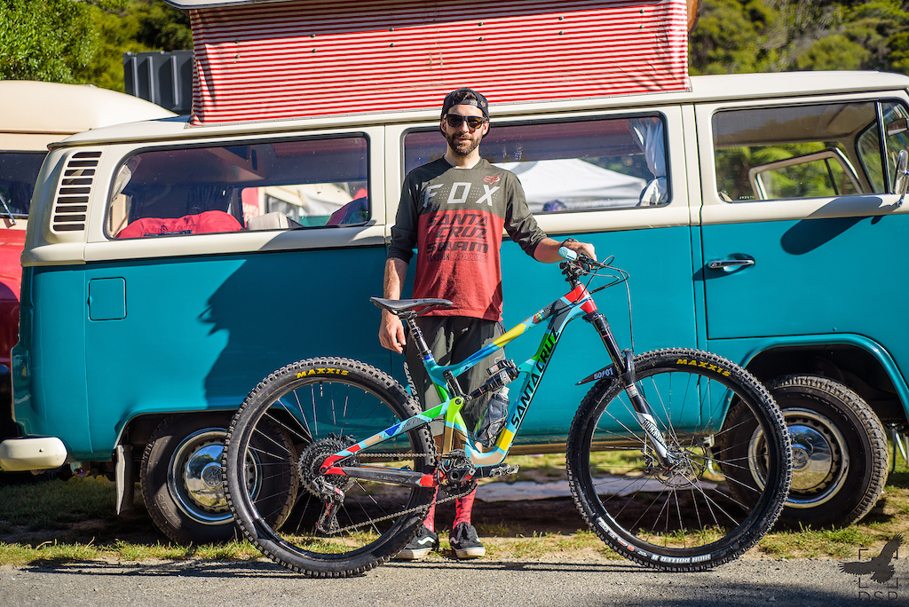 Iago Garay is super stoked on his Santa Cruz Hightower decked out in EWS livery.
