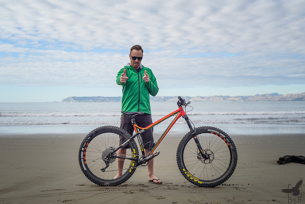 Odin Woods is braving the nz enduro on his Production Privee Shan GT hardtail.