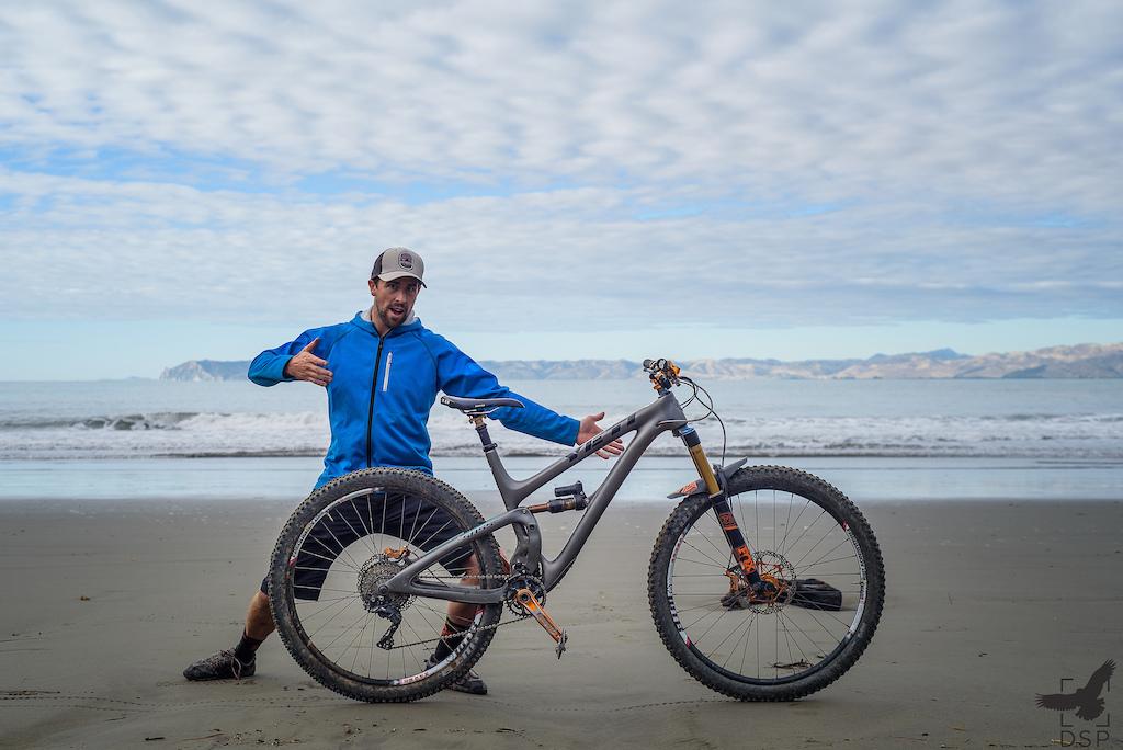 Mike Whisky Cowlin ready to rally with his fully hoped out Yeti SB 5.5.