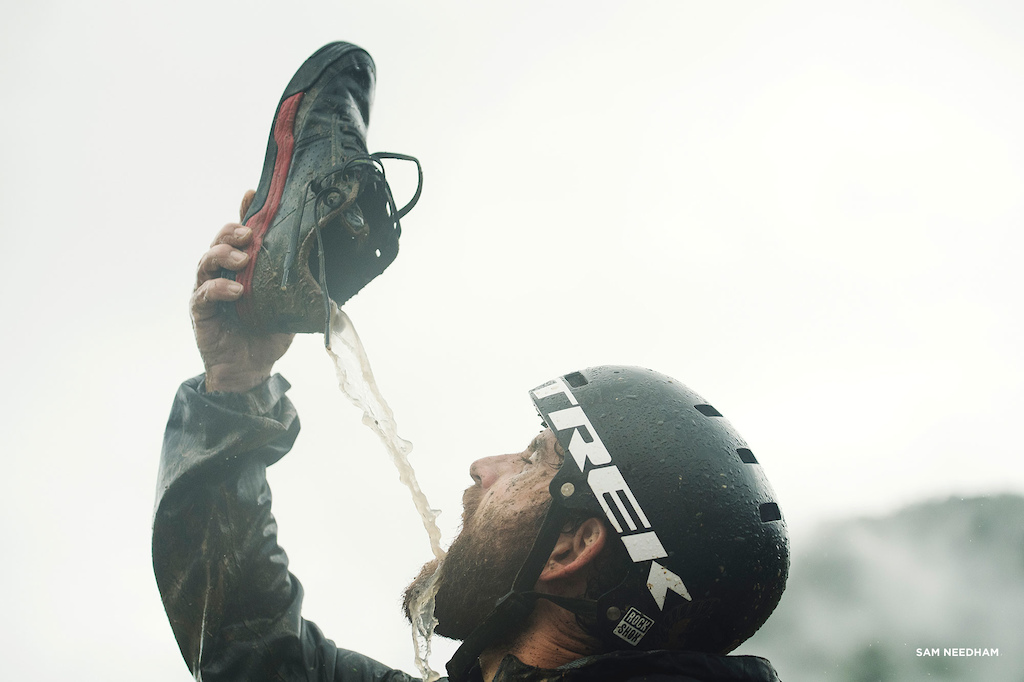Not only did R-Dog have his full lunch strapped to his bike each day, he took all the water he needed in each shoe for mid-ride thirst quenching.
