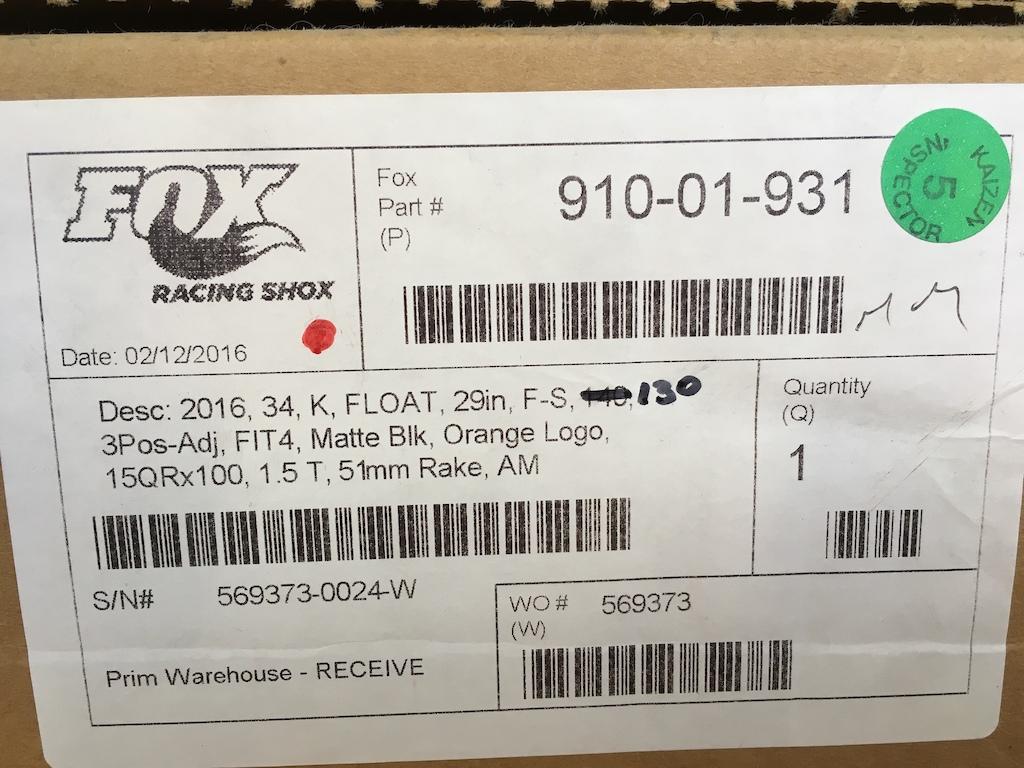 2016 Custom tuned Fox Factory 34 Float 29