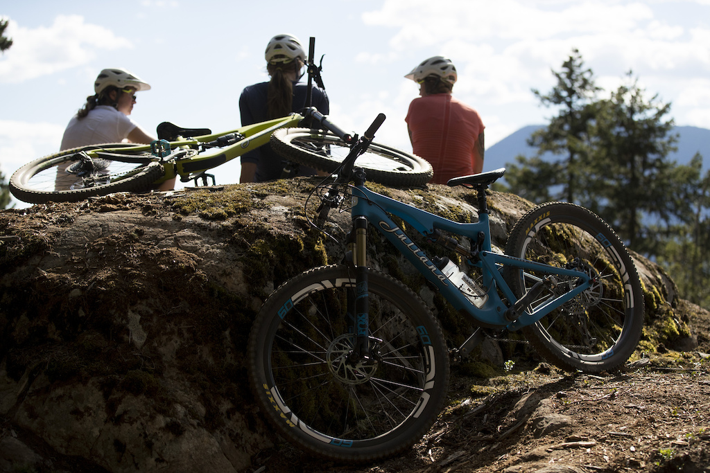 WHISTLER BC - 24 August 2016 - during a Juliana Bicycles Roubion shoot Brittany Phelan Katie Zaffke and Sarah Leishman for Juliana Bicycles. Photo by Gary Perkin