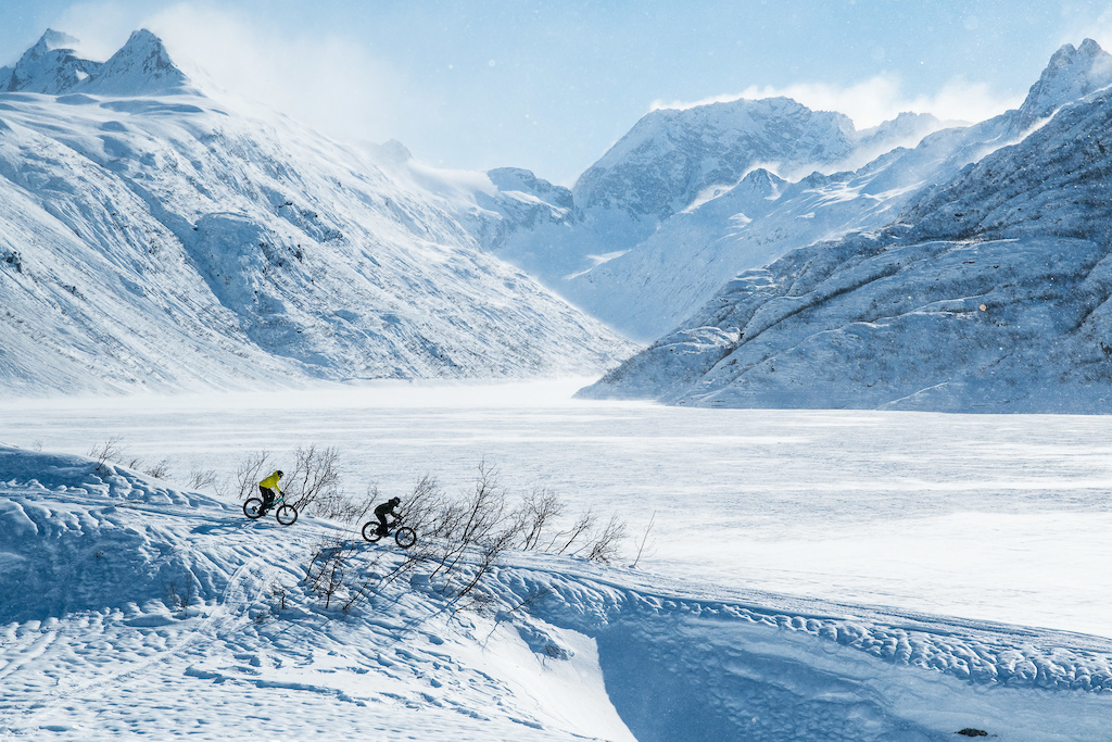 Andrew and Noah descend a section of access road down to Solomon Lake. The lake serves as a source of water even in the winter for the Solomon hydro-electric plant further downstream.