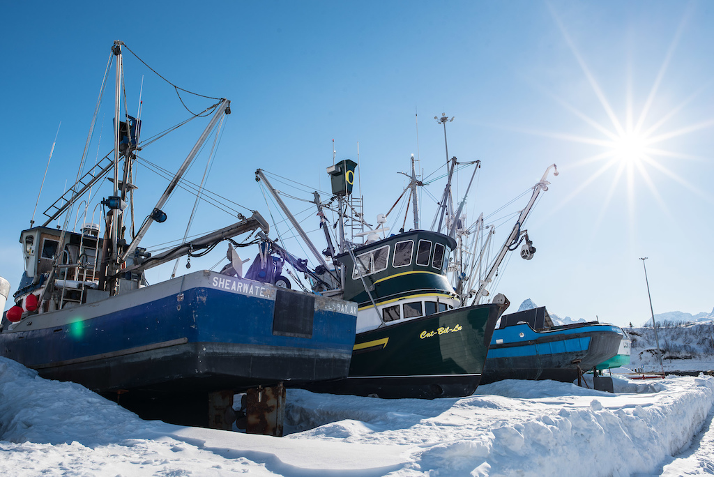 Valdez is a fisherman s paradise in the summer months but come winter many of the local boats are dry-docked near the marina.