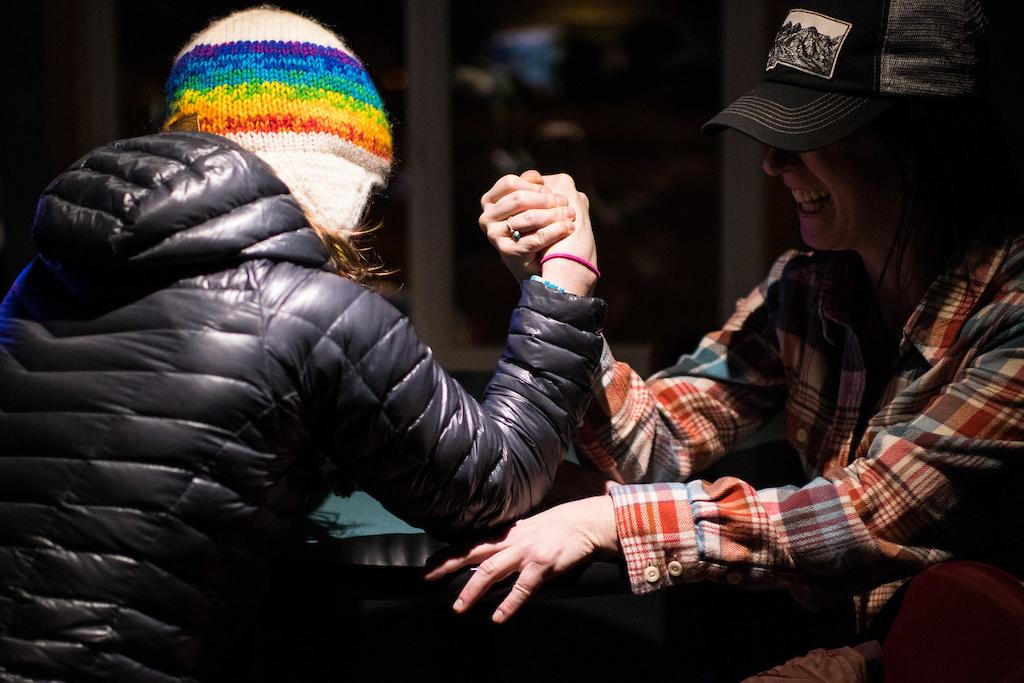 Later in the evening at the Fat Mermaid after the fat bike riding was done and shots were had the ladies challenged each other in arm wrestling.