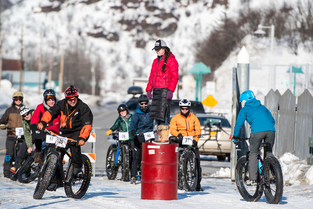 Fat Bikers competing in a fun-style barrel double elimination race.
