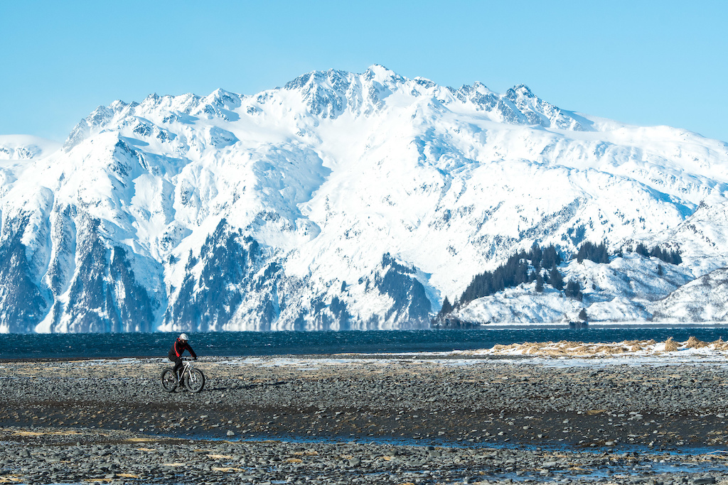 Coastal touring at low tide was a great way to take advantage of the fat bikes for finding some jaw dropping views along the Valdez Arm of the Prince William Sound.
