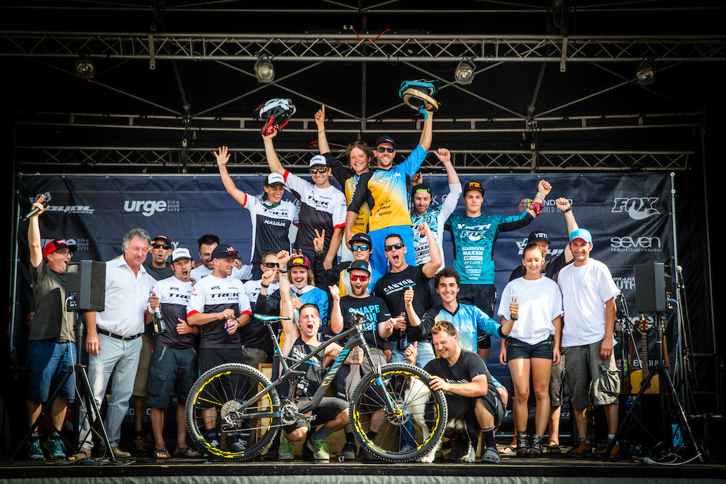 In Memoriam - Team podium during Enduro World Series round 4 Samoens France 2015. Photo by Matt Wragg.