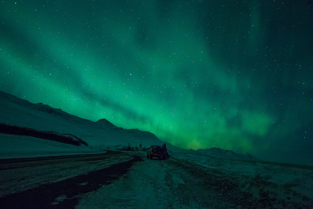 We heard the north is famed for spectacular Northern Lights so we drove up to Thomposn Pass one night to find out for ourselves. Photo Robb Thompson