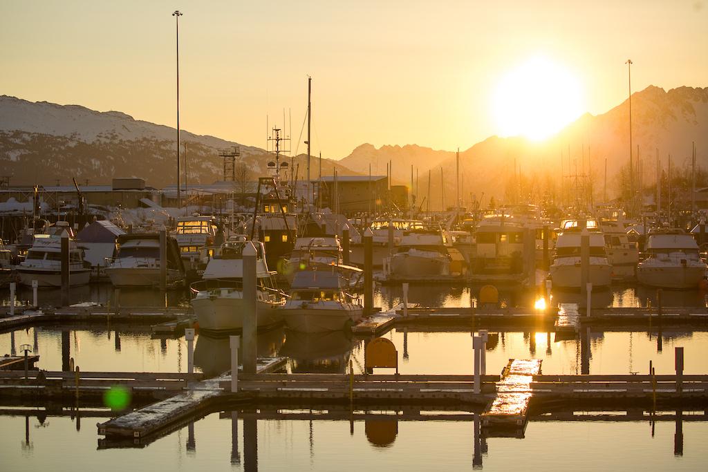 Gorgeous sunset over the Valdez Harbour. Photo Robb Thompson