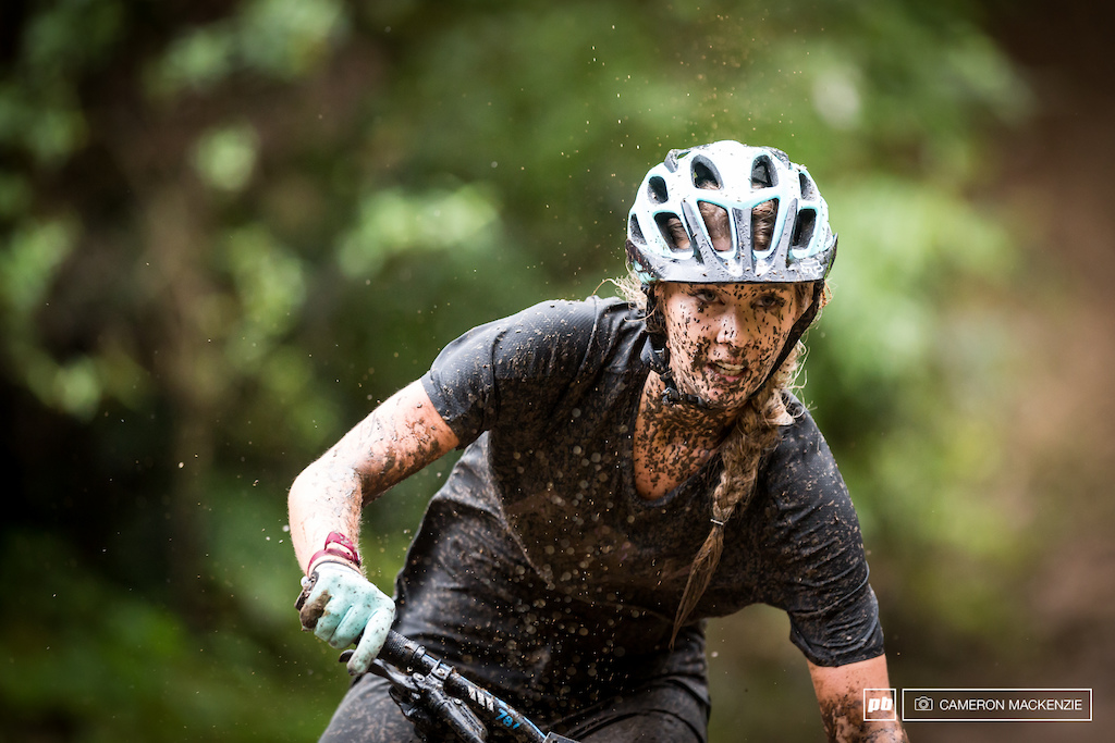 Shelly Flood wouldn't be used to racing in such wet conditions, but looked to be loving the slop