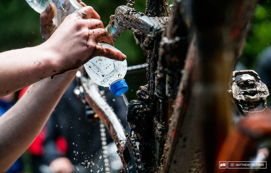 Bike cleaning any way you can in the remote woods.