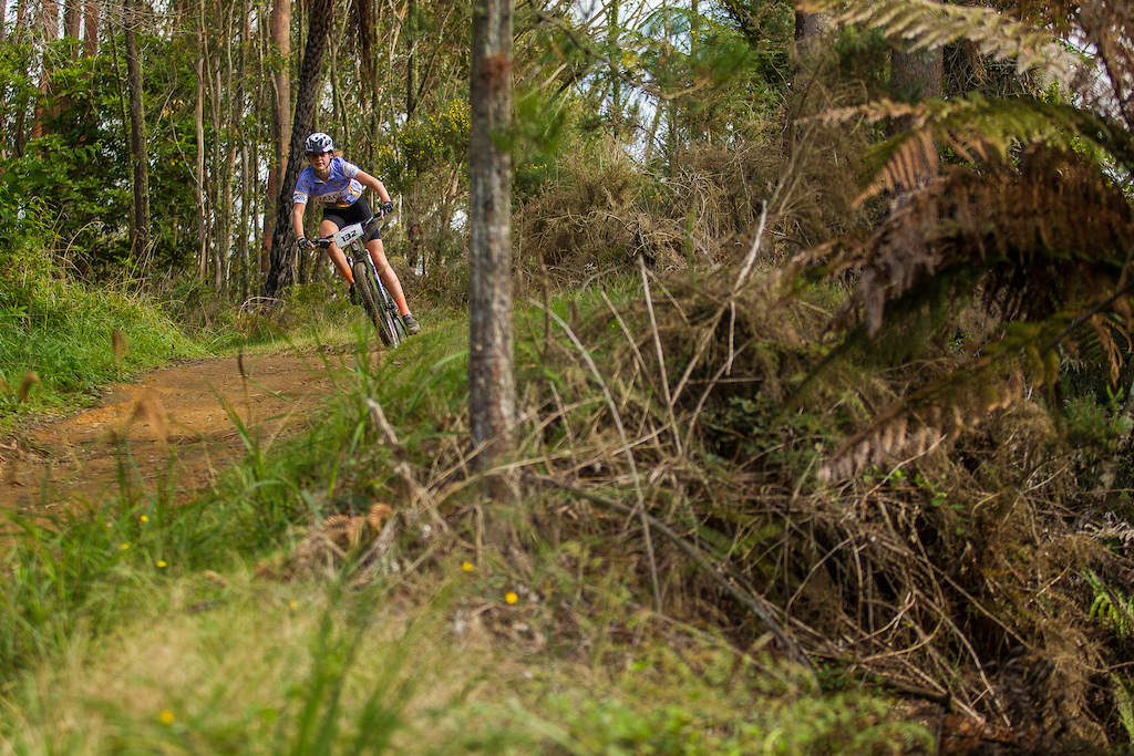 Harriet Neradt chases the leaders at the Professionals Rotorua National Schools MTB Championships Presented by Altherm Window Systems. Credit Fraser Britton Crankworx