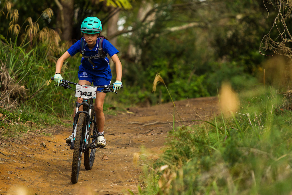 Sacha Earnest U13 girls rides in the Professionals Rotorua National Schools MTB Championships Presented by Altherm Window Systems. Credit Fraser Britton Crankworx