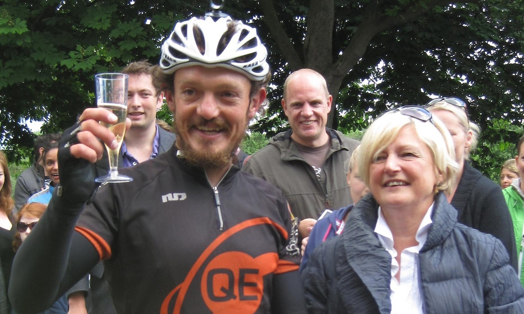 Mike Hall with his mother Pat at Greenwich Royal Observatory after winning the 2012 World Cycle Race. Photograph Lizzie Edmonds PA