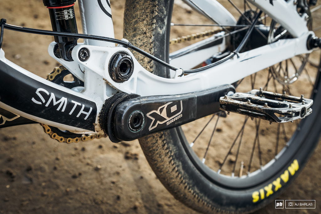 Brandon Semenuk's Trek Ticket S slopestyle bike - rubber around the crank spindle prevents his cranks from spinning too far out of place.