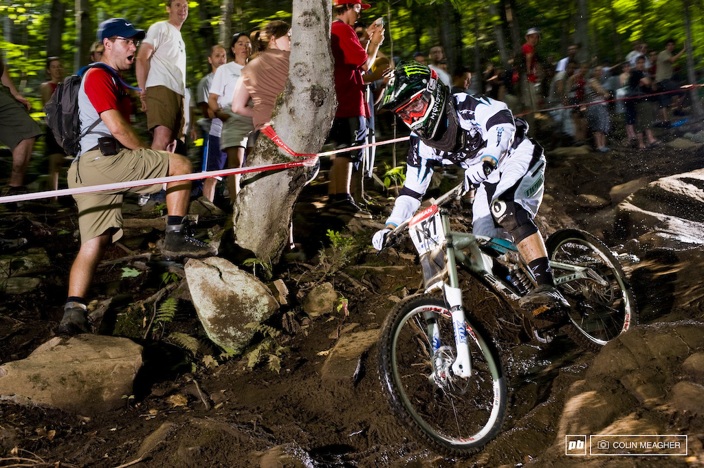 racing in the finals at the 2008 Mt St Anne World Cup Downhill Mountain Bike race