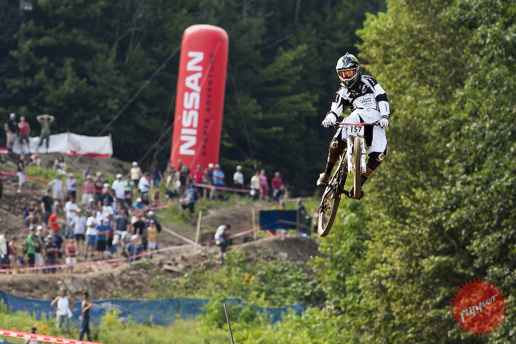 MONT-SAINTE-ANNE 24 July 2008 Aaron Gwin during DH5 XCO6 of the UCI World Cup in Mont-Sainte-Anne Quebec Canada. Photo by Gary Perkin