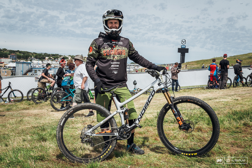Bryn Atkinson was ripping about on his Norco Optic 7. The frame was a size medium 120mm rear 130mm front.