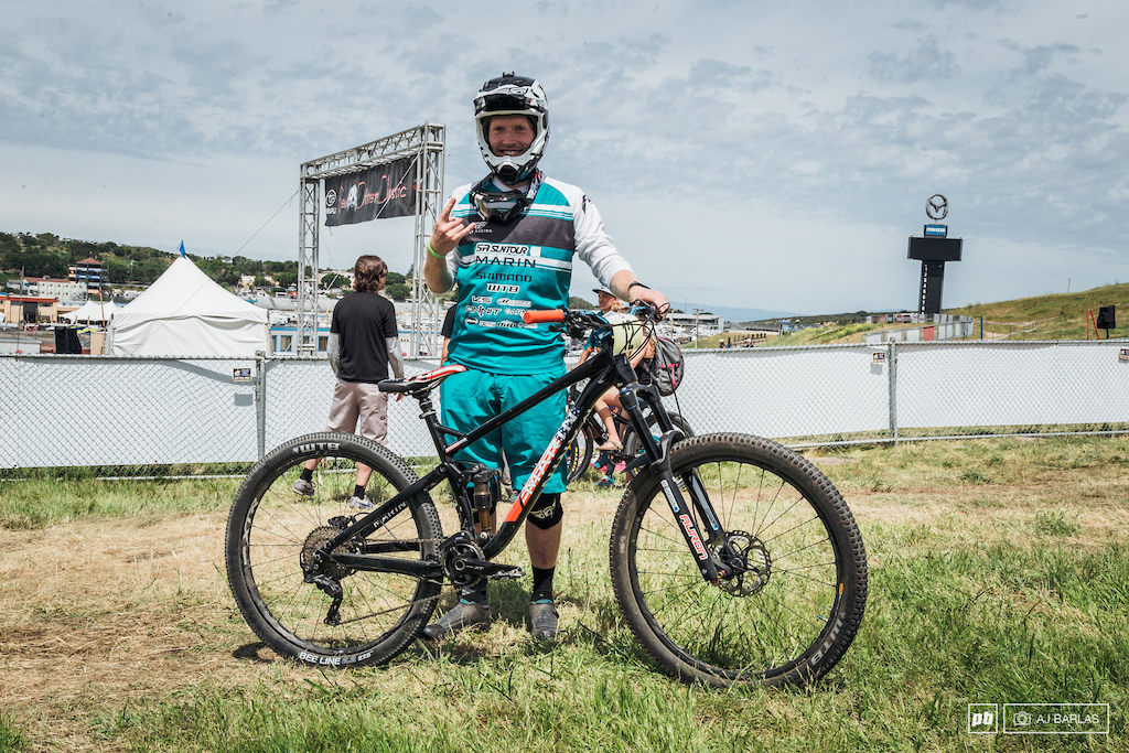 Kyle Warner snuck in to the main event by qualifying in the final position. He was riding his Marin Hawk Hill in a size medium. He changes between a medium and a large depending on the trails he's riding. The bike has 135mm of travel and Kyle is a big fan of it.