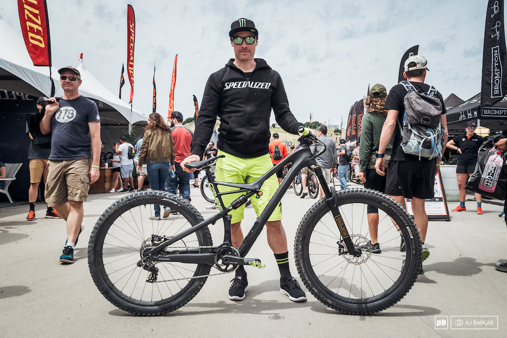 Jared Graves is here at Sea Otter with one bike the Camber. The 29 inch trail bike is being customized to suit each event but he is riding the same frame. For slalom Jared had 27.5 wheels put on left the 140mm 29 fork up front had a SRAM X01 DH cassette derailleur put on and there is a custom Ohlins rear shock tweaked to fit on the Camber frame. He was finding th front to be a touch on the high side but it wasn t enough to bother him to change it.
