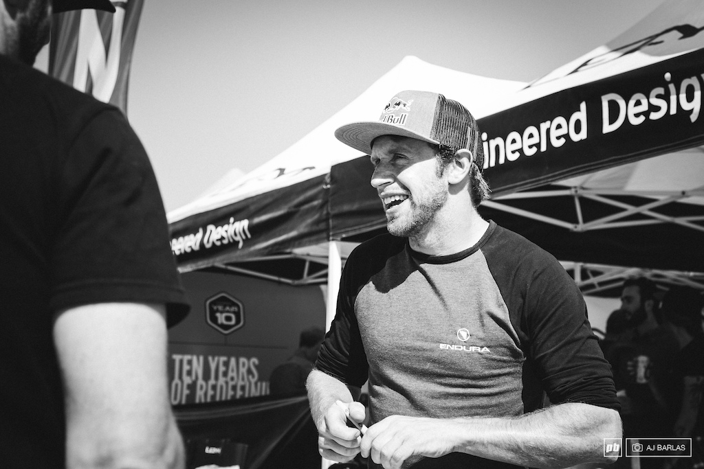 Danny MacAskill signing autographs and having a good laugh with fans.