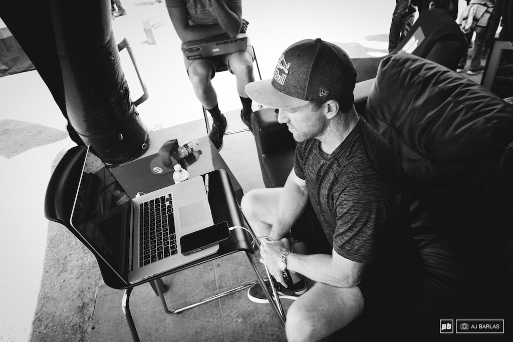 Aaron Gwin answering your questions live on Facebook at the Pinkbike tent.