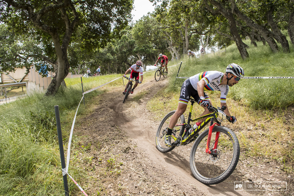 Schurter swapped leads a bit in the final laps with Anton Cooper but for the most part this was his race to lose.