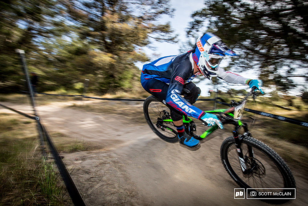 Mike Day known for his career in the BMX world now seems to be aiming for a second coming as a DH racer. He followed up his win here last year with another podium finish this year taking second place.