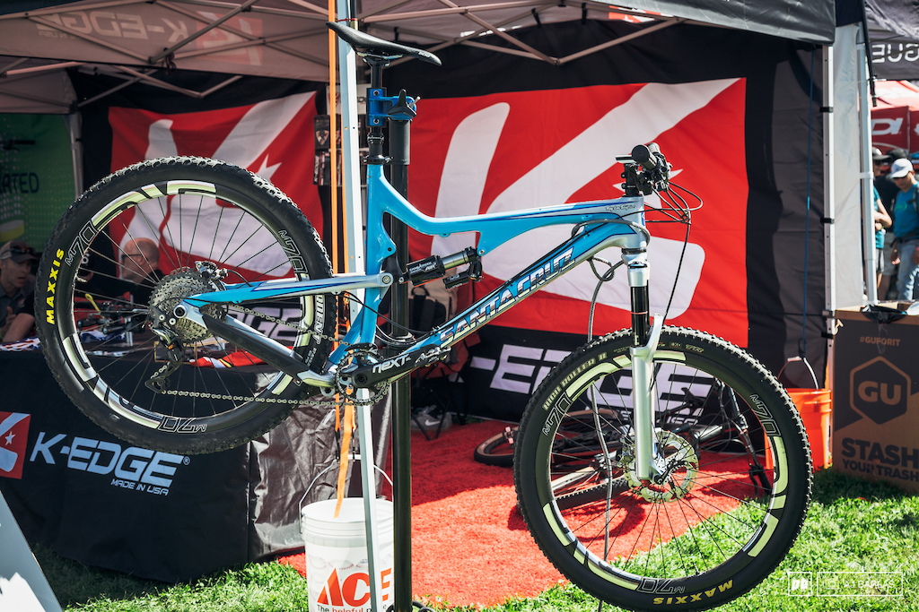 The K-Edge folks had this blinged out Troy Lee Designs custom painted Santa Cruz Bronson hanging out front of their tent.