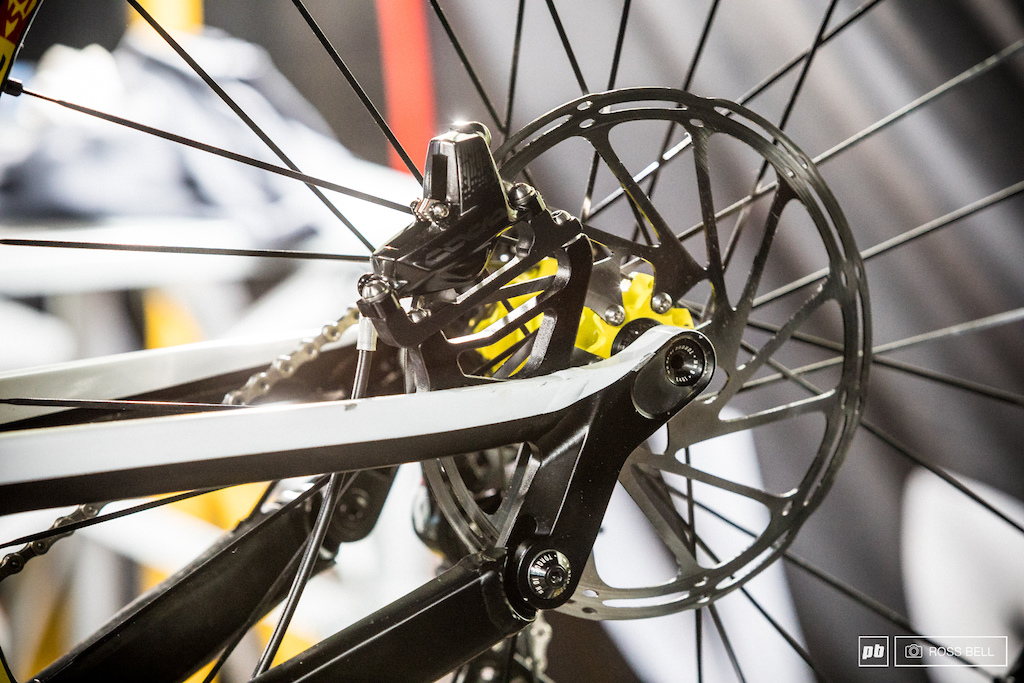 Troy Brosnan has shown up to Lourdes with some rather monstrous 220mm disc rotors.