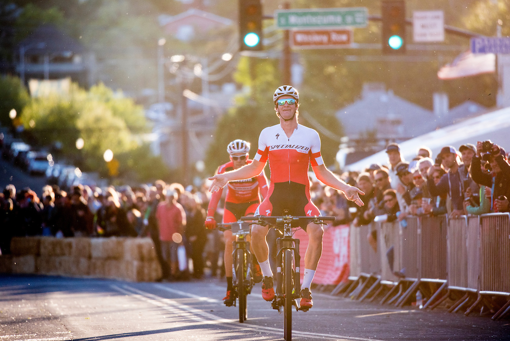 Sam Gaze crossed the finish line ahead of Todd Wells Friday during the Fat Tire Crit.