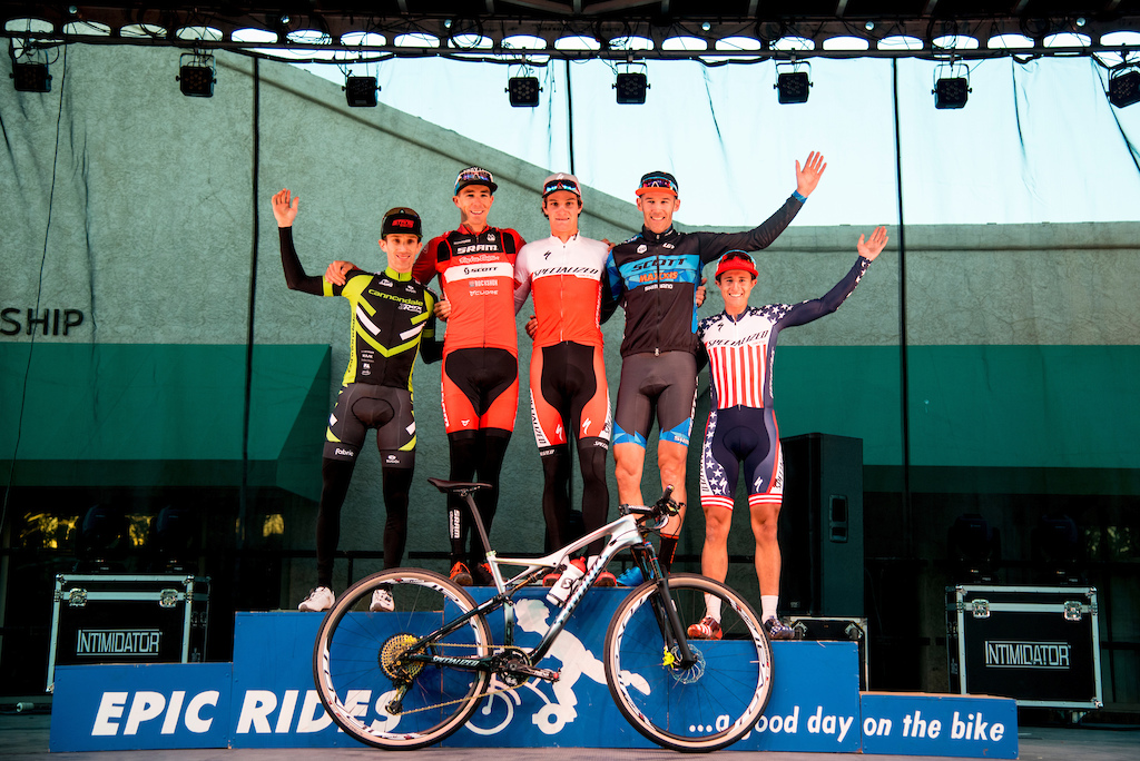 Sam Gaze Todd Wells Geoff Kabush Derek Zandstra Howard Grotts were the top finishers in the men s Fat Tire Crit Friday.