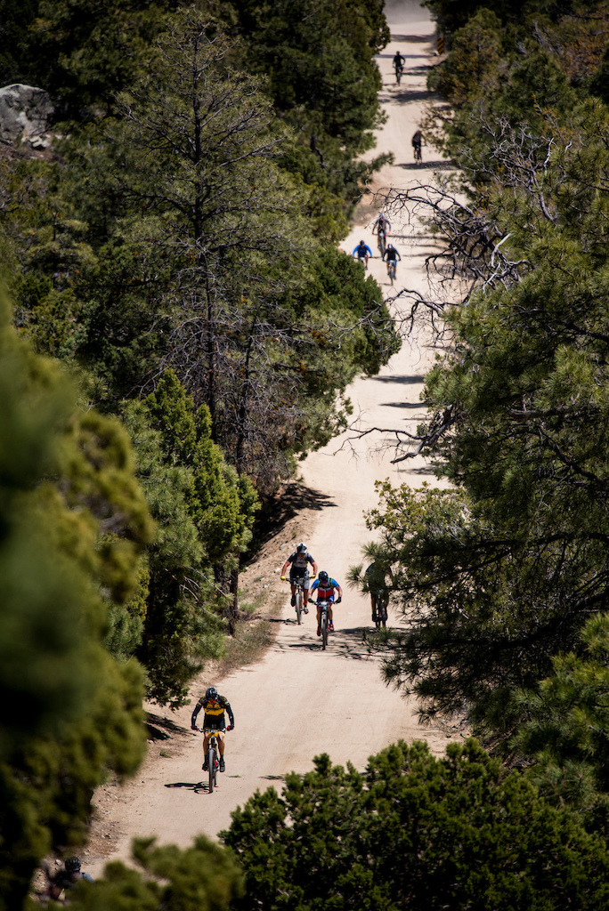 Racers climb the final stretch towards the Sierra Prieta overlook on Saturday.