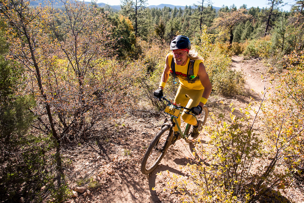 A man wearing a Hulk Hogan costume and riding a singlespeed raced on Saturday.