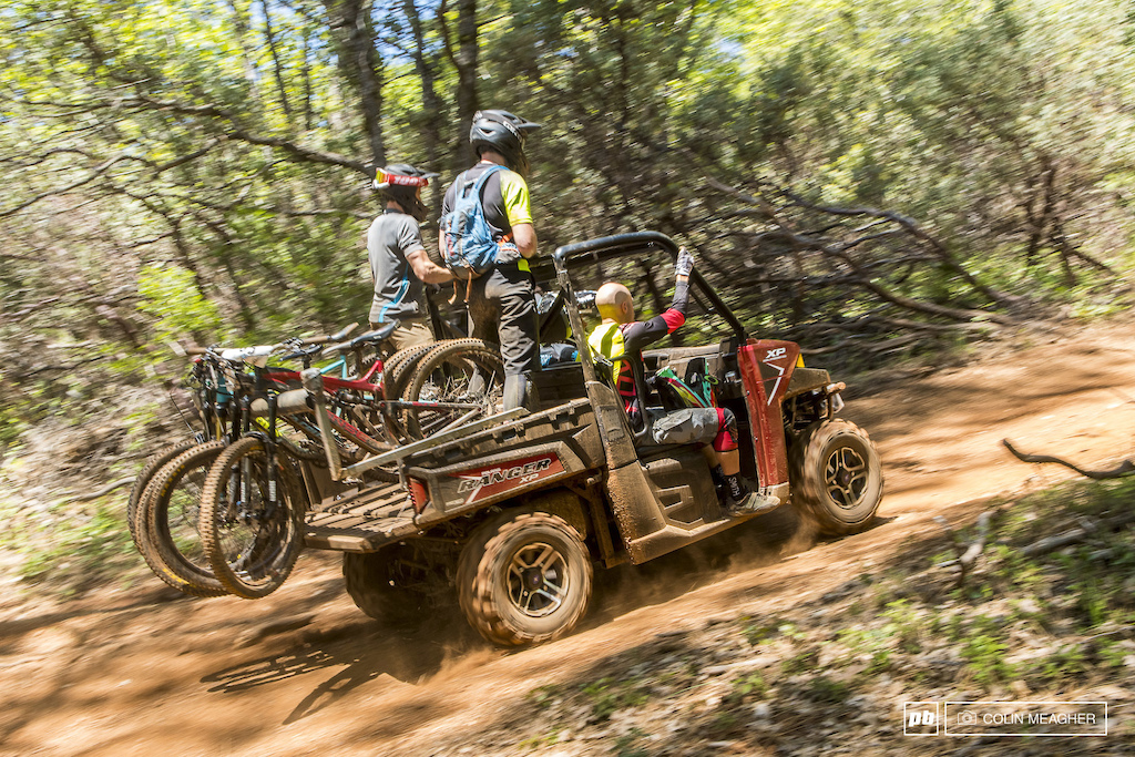 Shuttles courtesy of Polaris... the access roads at the TDS venue are anything but shuttle vehicle friendly. Unless you're on a modified side-by-side. Capable of carrying up to 6 bikes, these are the way to get in laps at the TDS practice and during the race.