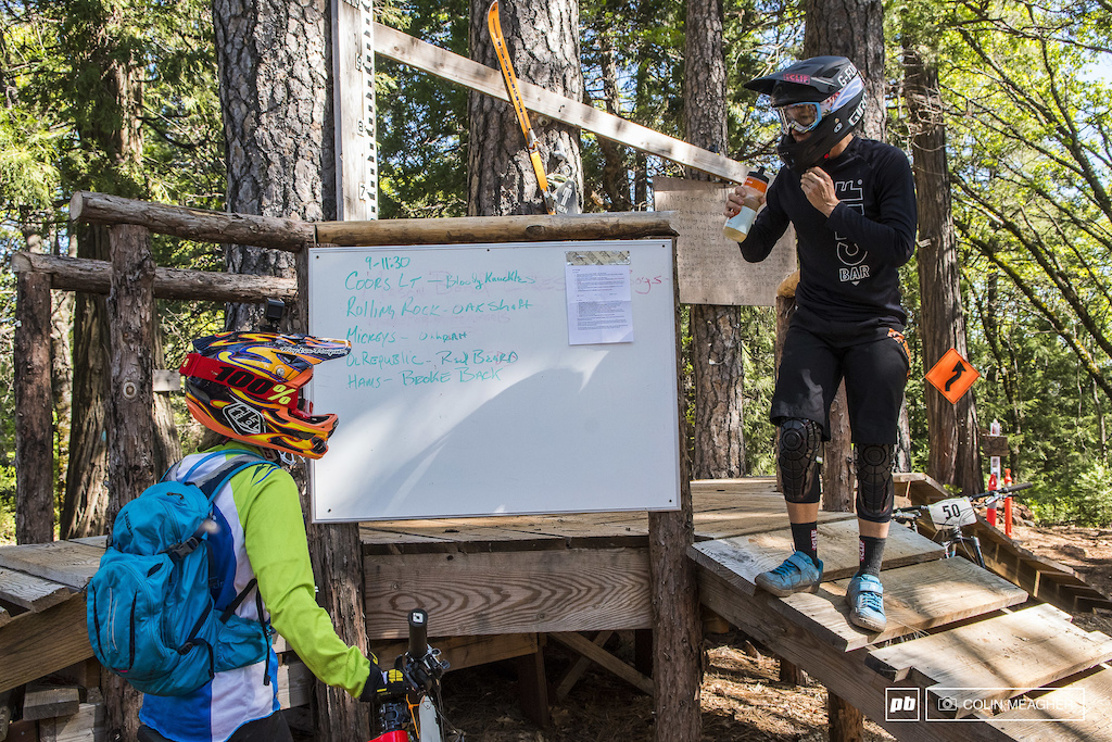 """Where the F--k do we go now?""Liz Miller and Joanna Petterson exchanging notes on trail links during the full tilt boogie of the TDS Enduro's practice on Friday."