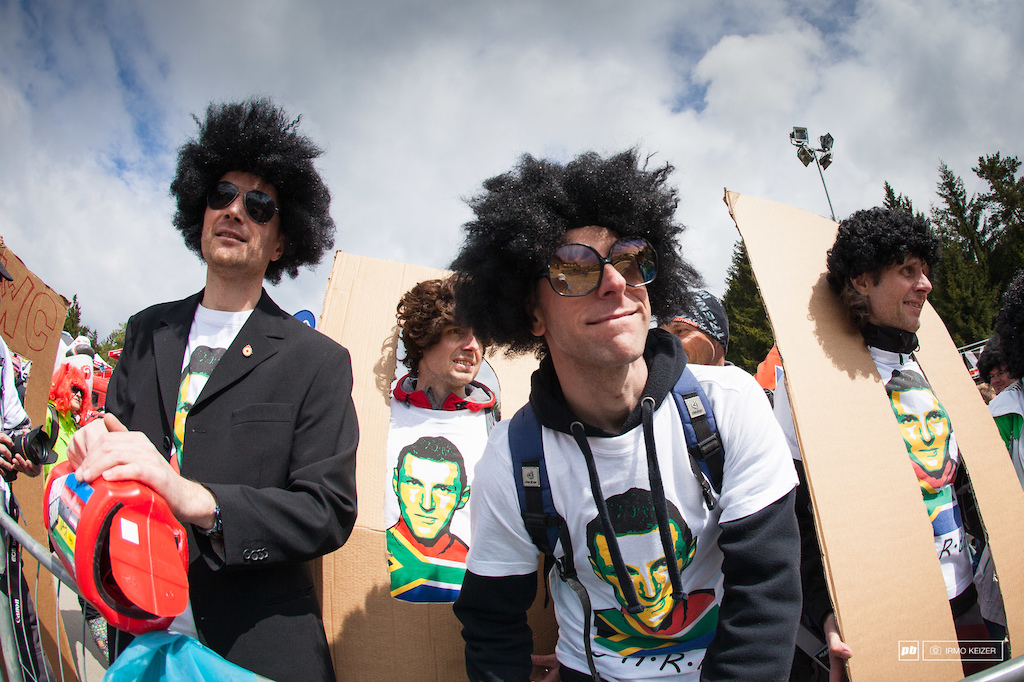 Fans of Jaroslav Kulhavy during the 2013 UCI Mountainbike World Cup at Nove Mesto, Czech Republic.