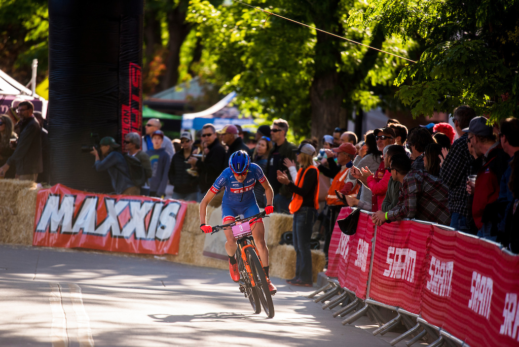 Maghalie Rochette puts the hammer down on a breakaway during the Pro Women s Fat Tire Crit Friday.