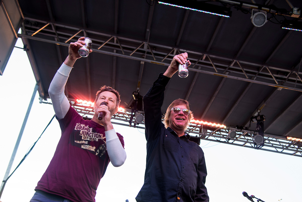 "Todd Sadow raises a toast toast to mountain bike hall of famer Greg ""H-Ball"" Herbold on Saturday."