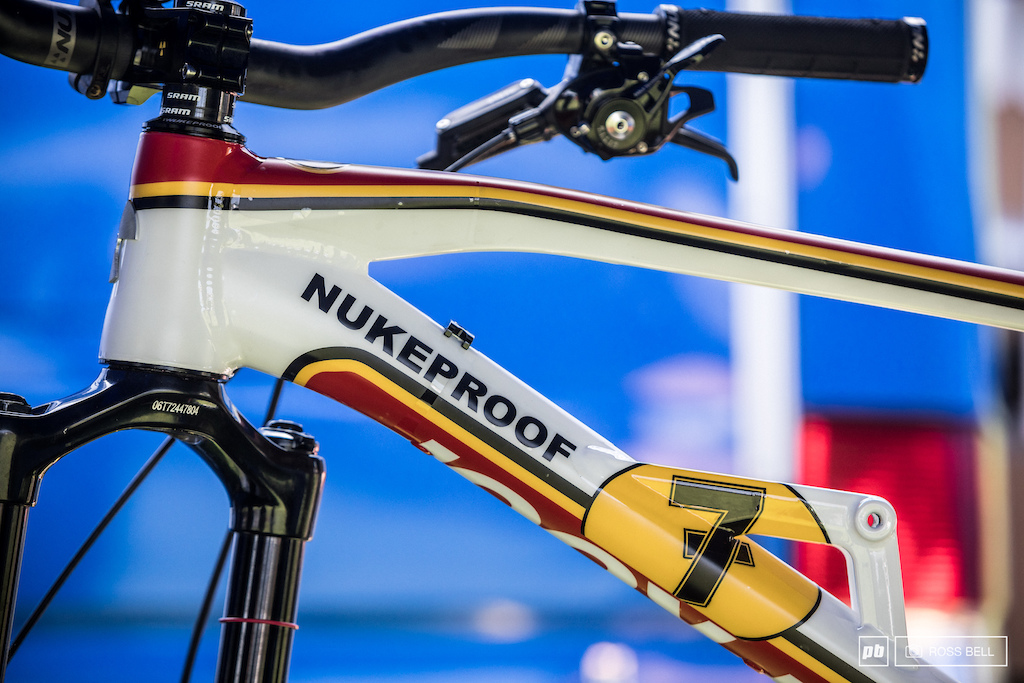 Sam wasn t the only one to get a new Nukeproof this weekend Nigel Page has been given a custom paint job.