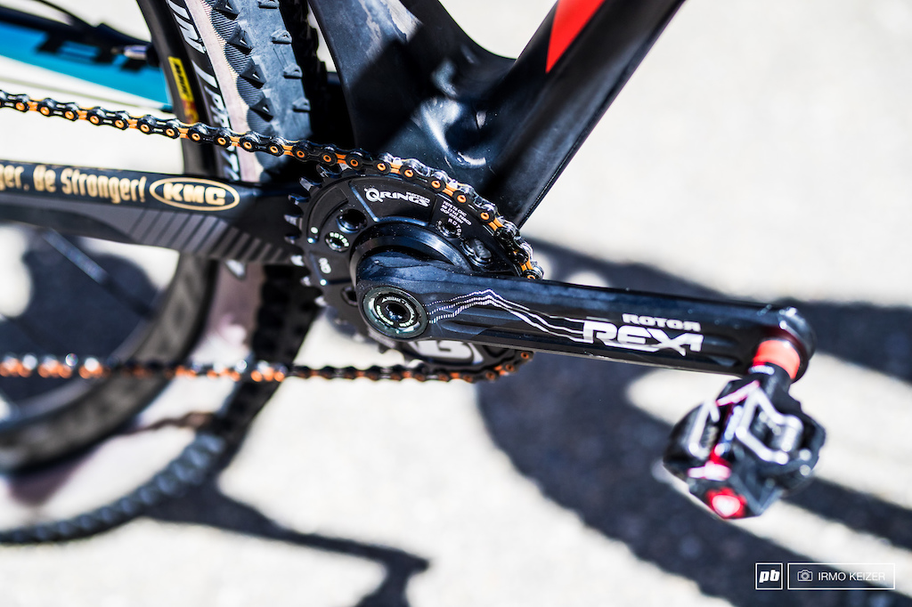 Rotor is seen more and more in the pro peleton as the Spanish brand seems to up their game. The Rotor Rex2 crank matched up with the Q-Ring.