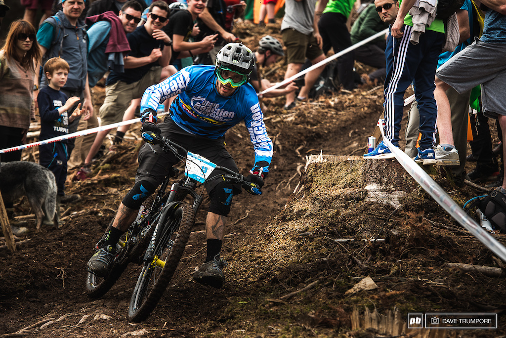 Foot out, flat out and fast as for Sam Hill in the slippery Irish dirt.