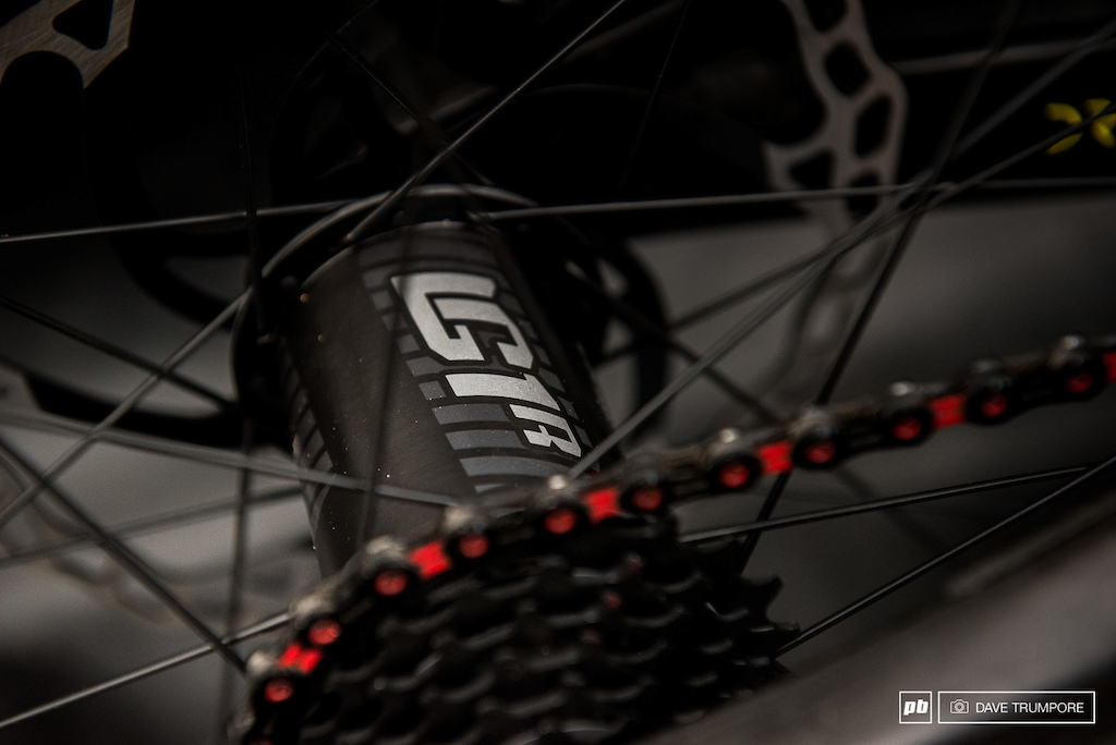 E13 hubs and carbo rims.