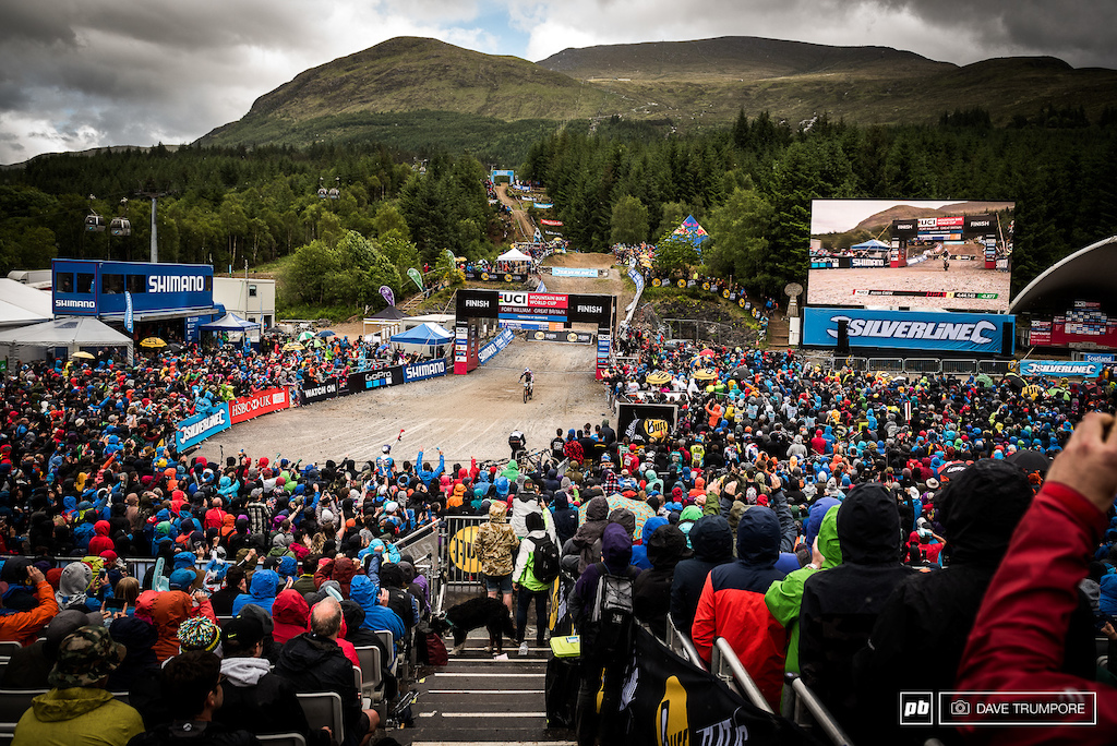 Aaron Gwin roars into the finish line as the massive crowd roars right back. The fans here in Fort William really are second to none on the Word Cup circuit.