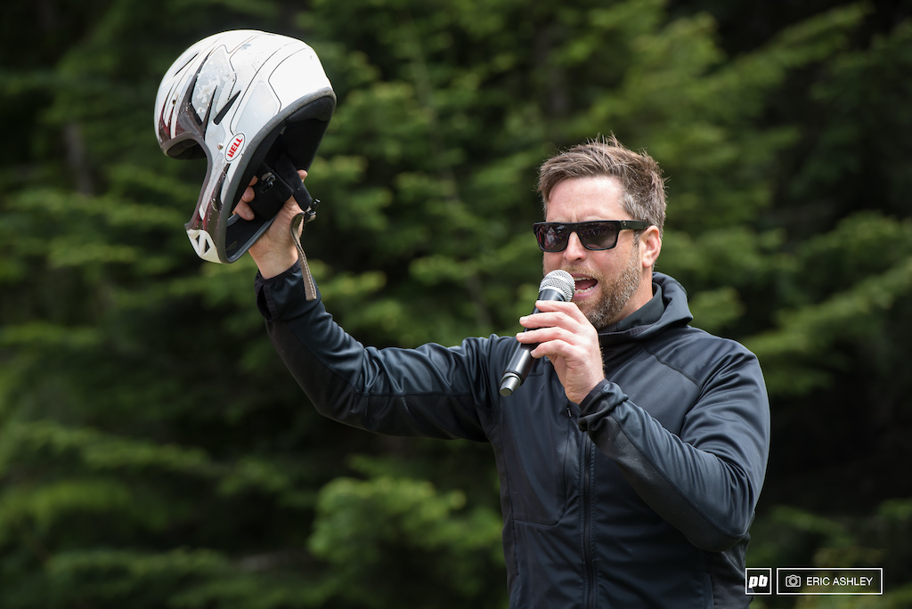 Casey Northern holds up the winning ugly helmet. A NW Cup made possible by Kali Protectives in addition to their Road Warrior initiative that allows racers to exchange a damaged helmet for a free new one.